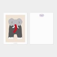 [카멜앤오아시스] Twins Beige 코끼리 엽서