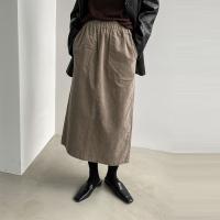 Gimo Corduroy Pocket Long Skirt - 기모안감