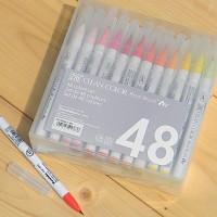 [Kuretake] 천연모 브러쉬팁의 캘리그라피,수채화붓..일본 쿠레다케 지그 Clean Color Real Brush 48색 Set HF132-5