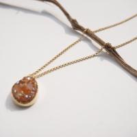 silver cham agate big necklace