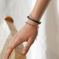 j_b2 - black _ green leather bracelets