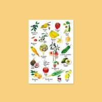 수채화 과일,채소 포스터