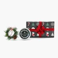 크리스마스 선물세트 메세지 틴캔들 + 미니 리스 set