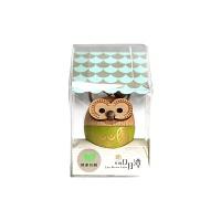 [WOODERFUL LIFE] GREEN OWL KEY RING