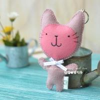 [DIY] 야옹이 펠트 열쇠고리 만들기 세트 13cm