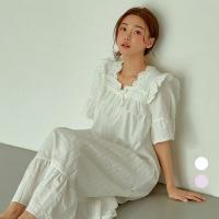 [쿠비카]레이스 스칼럽 도비면 원피스 여성잠옷 W738