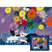 1000조각 직소퍼즐▶ 화병 아래 잠자는 고양이 [HE29818]
