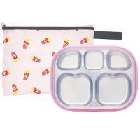 팝핑팝콘 하트형 핑크 유아식판 뚜껑+파우치 포함