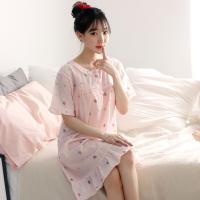 테라우드 여성용 아사 프릴 반팔 원피스 파자마 잠옷