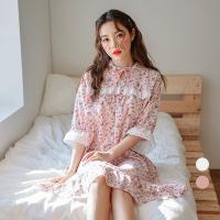 [쿠비카]시원한 플라워 반팔 원피스 커플잠옷 WM167