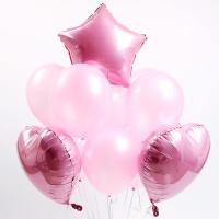 은박+고무 혼합 풍선세트(핑크)