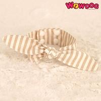 WOWDOG 와우독 애견 스트라이프 리본 스카프-베이지