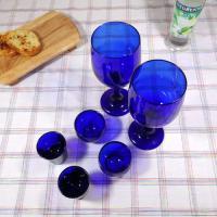 코발트 블루 벨벳 와인 글라스2P, 사케잔 2P, 소주잔 2P.
