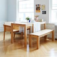 고트 애쉬 4인 와이드 식탁세트 / 벤치, 의자