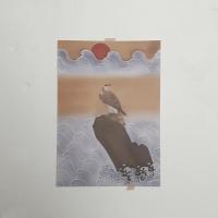 전통민화 일출 앞의 매 빈티지 A3 포스터