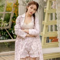 테라우드 여성용 로브 코튼 플라워 잠옷 3부 상하세트