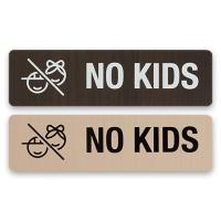안내표지 표지판 알림판 표찰 노키즈존- NO KIDS 우드