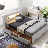 [노하우] 페퍼 LED 헤드수납 서랍형 침대 Q