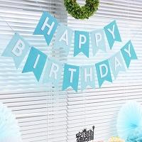 펠트 리본 생일가랜드(블루)