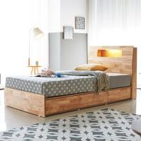 [노하우] 마렌 고무나무원목 LED 3서랍 침대 Q
