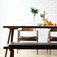 [채우리] 레이 4인 와이드 원목 식탁세트(의자/벤치)