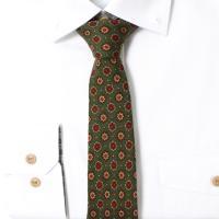 빈티지 블러썸 올오버 라임그린 울실크 넥타이