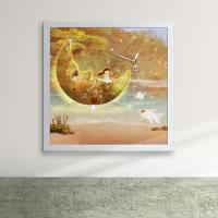 iw072-소녀와호수위의달액자벽시계_디자인액자시계