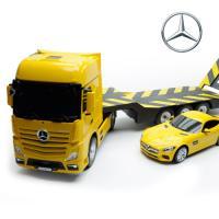1:26 USB 벤츠 ACTROS 트럭과 벤츠 AMG 옐로우