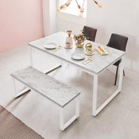 스틸마블 4인용 식탁테이블 1400x800+벤치의자세트
