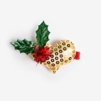 [인디고샵] 성탄절 쥬얼리 하트 집게헤어핀