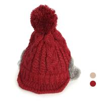 [디꾸보]니트 숏챙 배색 귀마개 방울 모자 AC218