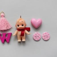 핑크체크단추_5p