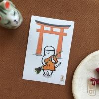 도로보우네코 스님 고양이 사각 스티커