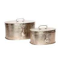 [Hubsch]Box m/lid, oval, antique, metal, s/2 348013 수납통