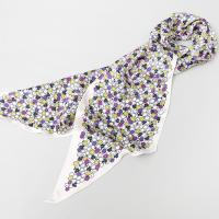 Silk Flower Triangle Long Scarf