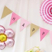 DIY 파티 삼각가랜드(알파벳스티커 포함) 핑크