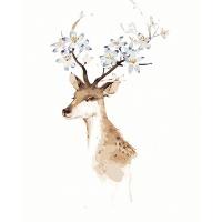 DIY 명화그리기키트 - 하늘 꽃사슴 40x50cm (물감2배, 컬러캔버스, 명화, 동물, 사슴, 꽃사슴, 하늘)