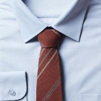 남자 스트라이프 브라운 면 넥타이