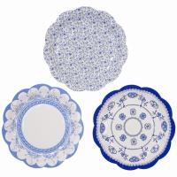 퍼셀린 블루 종이 접시 12개