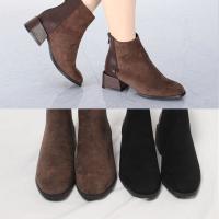 [애슬릿]발 편한 스퀘어 스웨이드 여성 앵클 부츠 5cm