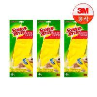[3M]면코팅 노랑 긴 고무장갑 3개세트