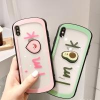아이폰 아보카도 복숭아 투명 하드 휴대폰 케이스