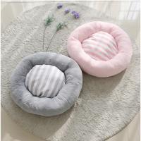 스트라이프 도넛 방석 L (핑크/그레이)
