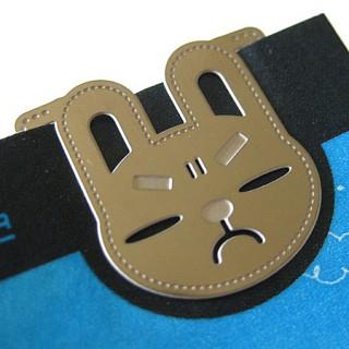 기분이 나쁜 토끼씨 책갈피카드 - metal bookmark