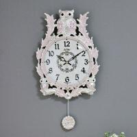(kspz236)저소음 넝쿨부엉이 추 시계 핑크S