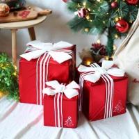 크리스마스 장식용 선물상자 (3개입) 화이트리본