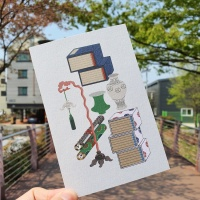 전통민화 문방도 아이보리 디자인 엽서