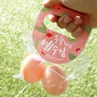 부활절 달걀2구 원형손잡이 20개(비닐포함)_레드
