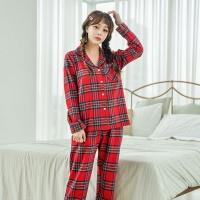 [쿠비카]트렌드 체크 기모 투피스 여성잠옷 W511