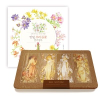 [무료배송] 우리 들꽃 컬러링북+아르누보 72색 색연필 틴